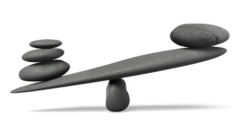 Waage nicht im Gleichgewicht